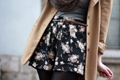 coat,where do i fond the brown coat?,where can i buy the skirt?,skirt,skater skirt,floral skirt,black skirt,flowers