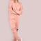 Waist tie cut out knee sweatpants pink -shein(sheinside)