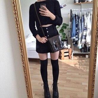 skirt grunge denim skirt black knitted sweater knee high socks