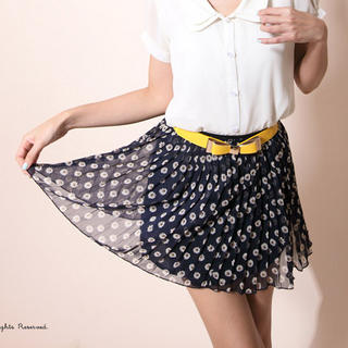 YESSTYLE: CatWorld- Accordion-Pleat Floral Skirt (Dark Blue - One Size) - Free International Shipping on orders over $150