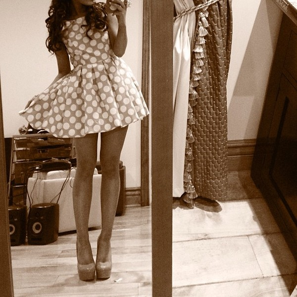 dress polka dots ariana grande sepia image effect short self shot shoes