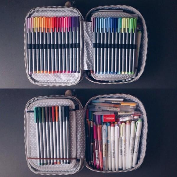 bag markers pencils pencil case