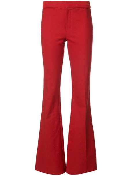 DEREK LAM 10 CROSBY flare women cotton red pants