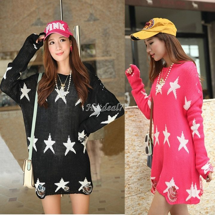 Women Oversized Star Frayed Jumper Hole Loose Knitwear Knitted Sweater Hot | eBay