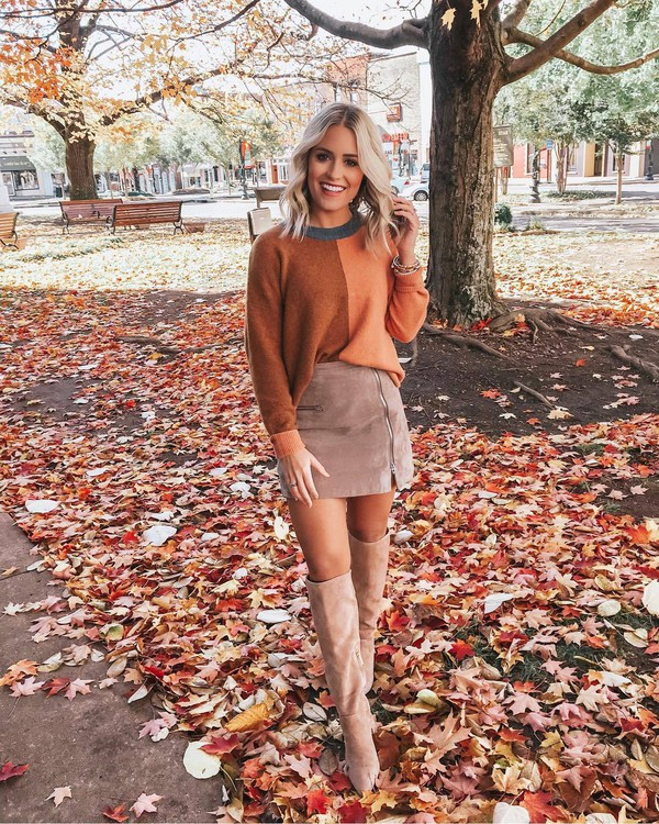 sweater knitted sweater colorblock knee high boots suede boots mini skirt zipped skirt