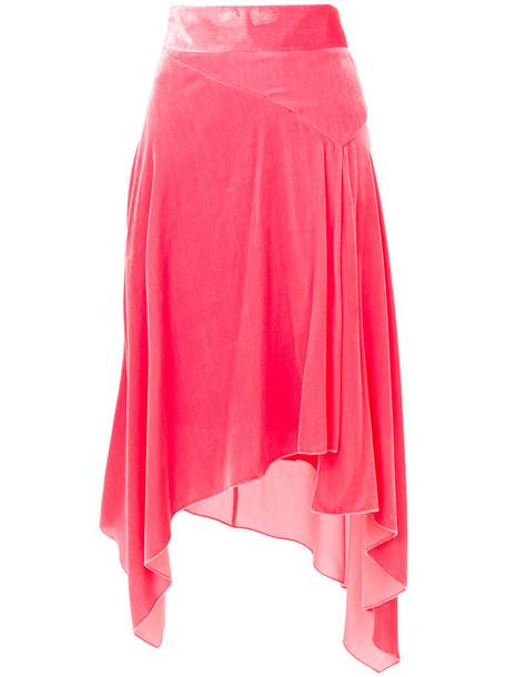 Peter Pilotto skirt velvet skirt women silk velvet purple pink