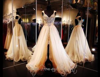 prom dress long prom dress champagne dress nude dress nude prom dress