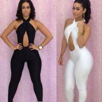 pants bodysuit dress jumpsuit romper cross cross top black jumper backless romper fashion style