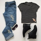 jeans,chelsea boots,top,shirt,shoes,clothes,jewels,t-shirt,boots,black,white,watch,sunglasses,ripped jeans,blue wash ripped skinny jeans,boyfriend jeans,stripes,black and white,b&w,grunge,striped top,striped shirt,monochrome fashion look,gold,black boots,monochrome,black crop top,white t-shirt,white top,white shirt,black sunglasses,glasses,indie,hipster,denim,blue skinny jeans,rose gold,roll up jeans,chic,black shoes,blue jeans,striped turtleneck,turtleneck,blouse
