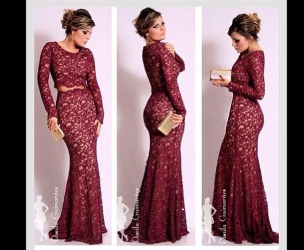 dress maroon lace prom dress