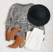 hat,knitted sweater,grey sweater,felt hat,sweater