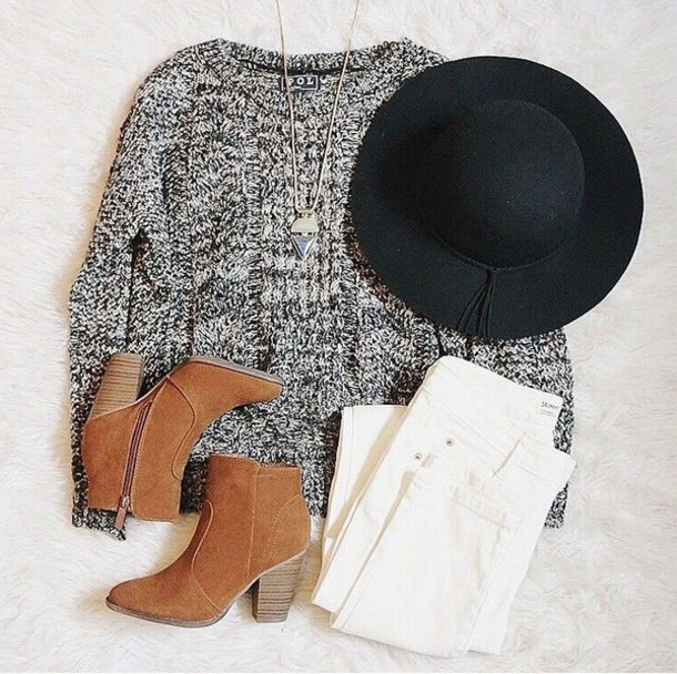 hat knitted sweater grey sweater felt hat sweater grey pull black hat suede boots