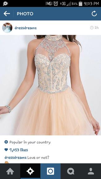 diamonds nude dress formal dress