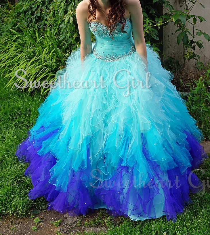 Ball gown blue sweetheart neck prom dress