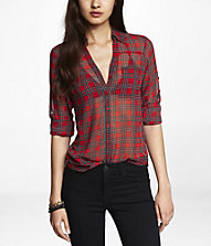 TARTAN PLAID CONVERTIBLE SLEEVE PORTOFINO SHIRT | Express