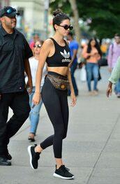 top,sportswear,sports bra,leggings,sneakers,kendall jenner,kardashians,sunglasses,model off-duty,streetstyle