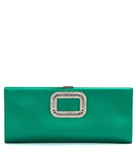 Roger Vivier clutch satin green bag