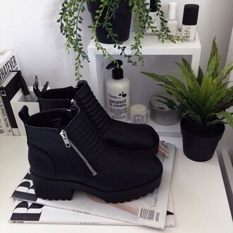 shoes noir black cuir talon mid heel boots