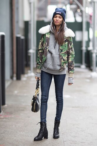 jacket tumblr nyfw 2017 fashion week 2017 fashion week streetstyle camouflage camo jacket fur collar jacket hoodie grey hoodie denim jeans blue jeans skinny jeans boots black boots mid heel boots lace up boots bag black bag winter outfits winter boots winter look black beanie beanie