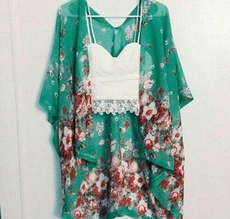 jacket kimono blue green floral floral kimono flowers style bohemian boho tropical turqouise fashion boho style boho chic tropical shirt