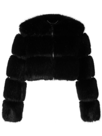 jacket fur jacket cropped fur women black