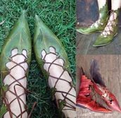shoes,green,red,pointed toe pumps,pointed toe,flats,ballet flats,lace up,unique shoes,leather,plastic,natural,vegan,vegan leather,vegetarian,plants,cute,cosplay,lolita,elf,kawaii