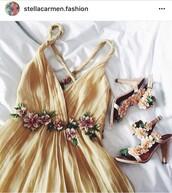 dress,beige dress,summer dress,cute dress,yellow,yellow dress,flowers,shoes,orange,flowy,prom,homecoming,pretty,tumblr,beautiful,fashion,dressup,dressing,prettyyellow,floral,floral dress,mustard,alberta ferretti,a line dress
