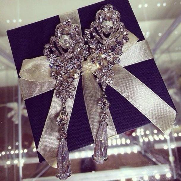 jewels earrrings silver beautiful bridal earrings long earrings cristal серьги
