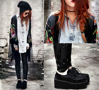 blouse demin cardigan beanie creepers black leggings glasses platform shoes black glasses shoes