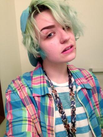 shirt flannel button up colorful tank top plaid stripes