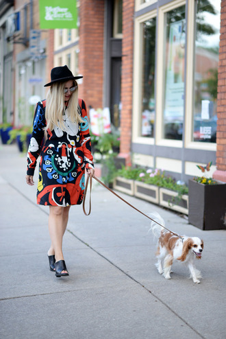 blonde bedhead blogger dress sunglasses fall dress multicolor colorful printed dress long sleeve dress long sleeves black bag mules black mules