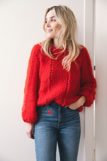 Sweater: tumblr, red sweater, blonde hair, hair, denim, jeans ...