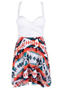 dress white orange blue aztec halter top