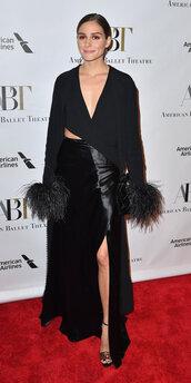 skirt,olivia palermo,blouse,blogger,blogger style,slit skirt,maxi skirt,all black everything