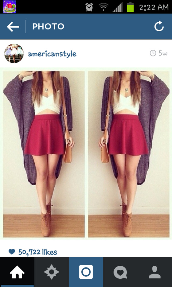 sweater skirt crop tops high heels jewels bag top