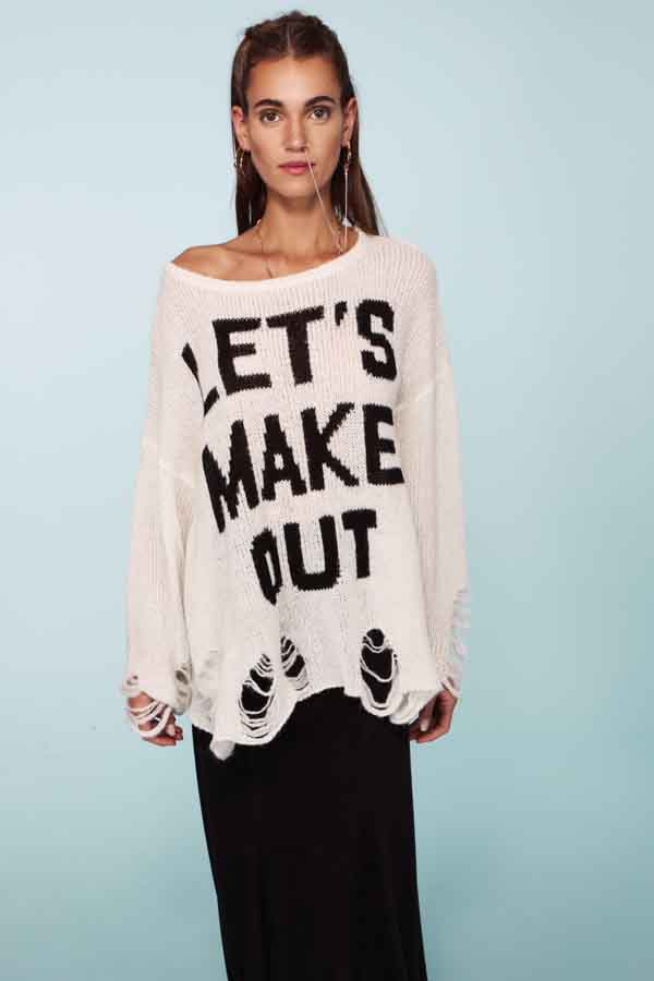 Wildfox Couture Let's Make Out Lennon Sweater in Clean White