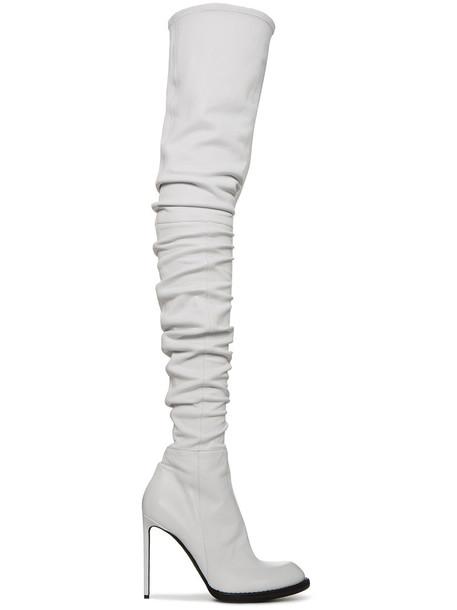 Haider Ackermann high women thigh high boots leather white shoes