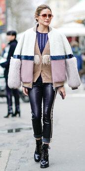 cardigan,jacket,streetstyle,blogger,fashion week,paris fashion week 2018,olivia palermo,pants