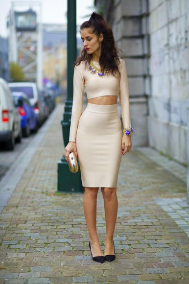 two-piece blogger from brussels with love jewels clutch pencil skirt