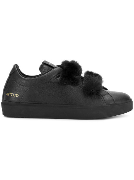 Leather Crown fur women sneakers leather black shoes