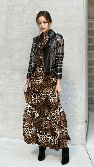 blouse skirt maxi maxi skirt leopard print jamie chung ankle boots boots fall outfits jacket blogger