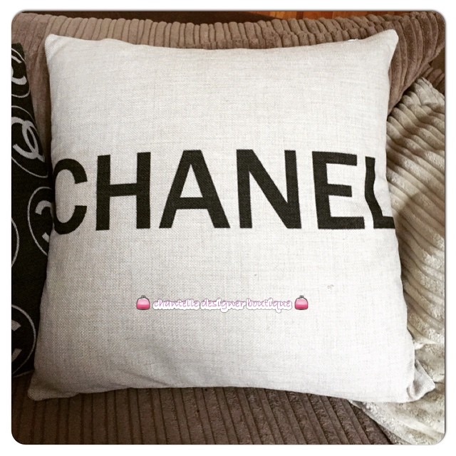 "Chantelle on instagram: ""just arrived beautiful chanel print canvas style pillow! #chanel #cc #chanelprintpillow #cushion #designerhomeware #luxury love it ? order…"""