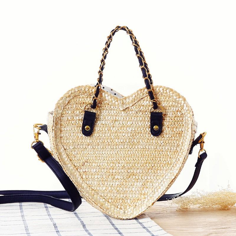 Black Heart Shaped Straw Woven Bag Mini Crossbody Bag   Baginning