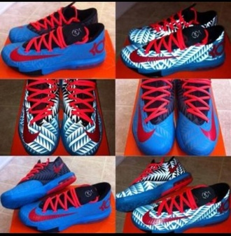 kd shoes baby blue white aztec pattern