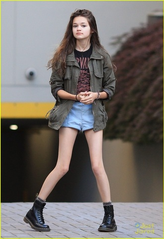 jacket ciara bravo army green utility nirvana nirvana t-shirt denim shirt denim shorts socks gray socks utility jacket