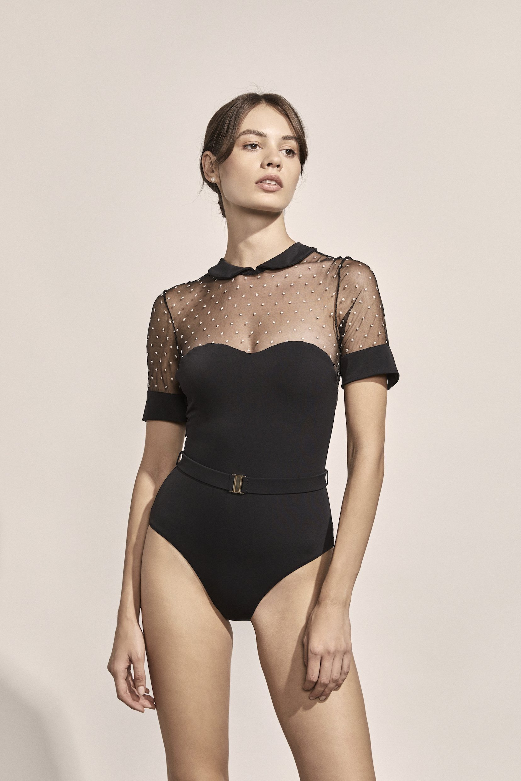 Penelope Maillot in Black/Ivory Point d'Esprit