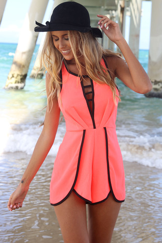 dress ustrendy playsuit romper ustrendy summer outfits summer coral cage front blouse