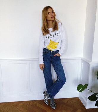 look de pernille blogger fruits banana zebra printed sweater