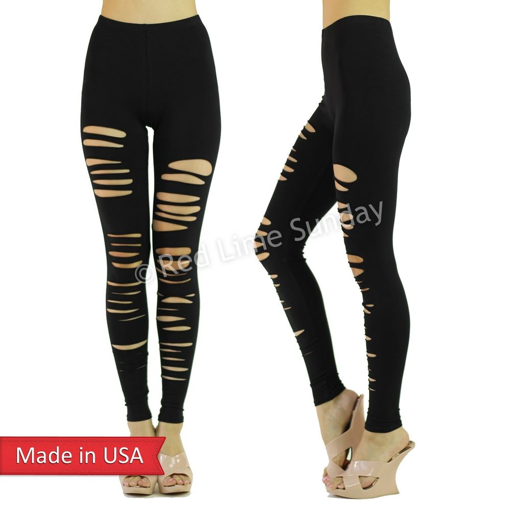 Sexy Black Stretchy Cotton Cut Off Ripped Punk Goth Leggings Tights Pants USA