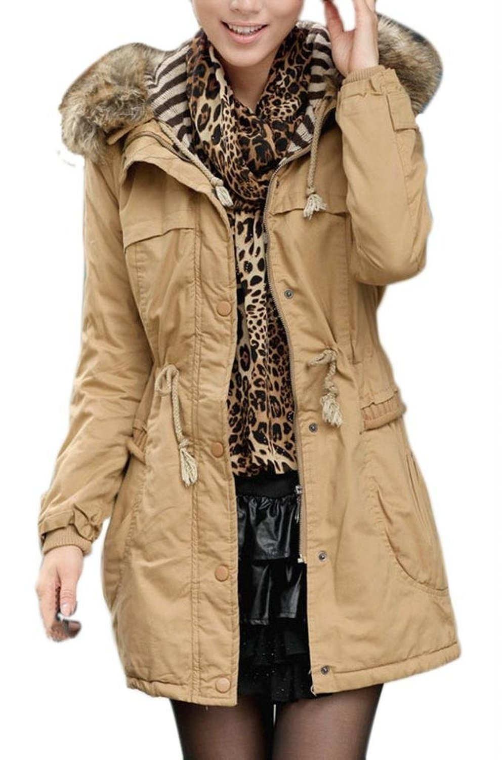 Winter Coats Wide Wool Collar Padded Thick Jackets at Amazon ...